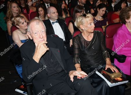 Max von Sydow, left, and Catherine Brelet attend night one of the Television Academy's 2016 Creative Arts Emmy Awards at the Microsoft Theater on in Los Angeles