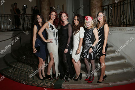 Alice Palmer, centre left, arrives at the 8th Annual Scottish Fashion Awards 2013 dinner, celebrating Scotland's fashion talent, at Dover House, in central London, as part of a Scottish fashion invasion of London