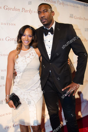 Alexis Stoudemire and Amar'e Stoudemire arrive at The Gordon Parks Foundation Awards Dinner and Auction at Cipriani's Wall Street, in New York