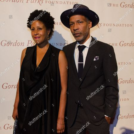 Leslie Parks and Radcliffe Bailey arrive at The Gordon Parks Foundation Awards Dinner and Auction at Cipriani's Wall Street, in New York