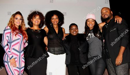 """L-R) Panalists Sheree Fletcher, Kimberly Elise, Cori Murray, Endyia Kinney-Sterns, KeKe Palmer and event creator Steve Jones pose at The Hollywood Confidential Panel Discussion Series - """"Images of African-American Women in Mainstream Media"""" at The Museum of Tolerance on in Los Angeles, California"""