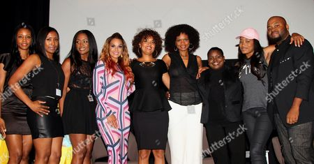"""L-R) Event planners Yani Wright, Shantee Wright, Mena Wright, panalist Sheree Fletcher, Kimberly Elise, Cori Murray, Endyia Kinney-Sterns, KeKe Palmer and event creator Steve Jones pose at The Hollywood Confidential Panel Discussion Series - """"Images of African-American Women in Mainstream Media"""" at The Museum of Tolerance on in Los Angeles, California"""