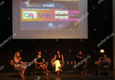 """L-R) Panalists Sheree Fletcher, Kimberly Elise, Cori Murray, Endyia Kinney-Sterns and KeKe Palmer seen at The Hollywood Confidential Panel Discussion Series - """"Images of African-American Women in Mainstream Media"""" at The Museum of Tolerance on in Los Angeles, California"""