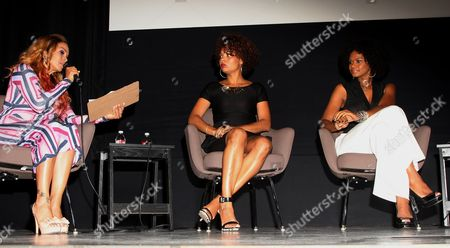 """L-R) Panalists Sheree Fletcher, Cori Murray and Kimberly Elise seen at The Hollywood Confidential Panel Discussion Series - """"Images of African-American Women in Mainstream Media"""" at The Museum of Tolerance on in Los Angeles, California"""
