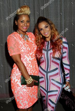 """April Daniels and Sheree Fletcher pose at The Hollywood Confidential Panel Discussion Series - """"Images of African-American Women in Mainstream Media"""" at The Museum of Tolerance on in Los Angeles, California"""
