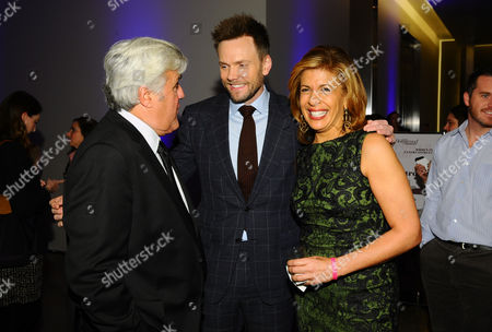 Jay Leno, and from left, Joel McHale and Hoda Kobt attend a celebration of The Hollywood Reporter's Power 100 Women in Entertainment breakfast at Milk Studios, in Los Angeles