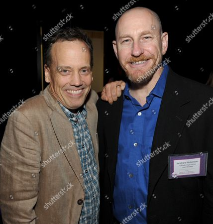Actor Dee Bradley Baker, left, and Andrew Robinson, story editor for Kaijudo, attend the Hub Network's TCA at Universal Studios, in Los Angeles