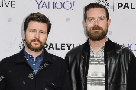 """Executive producers Andrew Haigh, left, and Michael Lannan arrive at The Paley Center For Media Presents An Evening With HBO's """"Looking"""", in Beverly Hills, Calif"""
