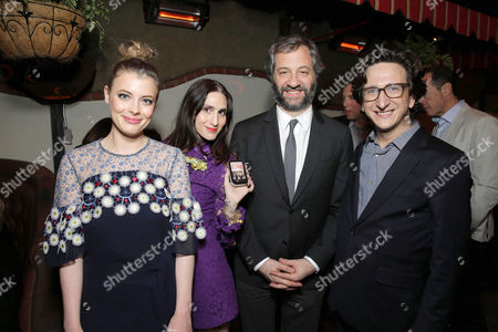 Gillian Jacobs, Creator/Writer/Executive Producer Lesley Arfin, Creator/Writer/Executive Producer Judd Apatow and Paul Rust seen at the Los Angeles premiere of the Netflix original series 'Love' after party, in Los Angeles, CA