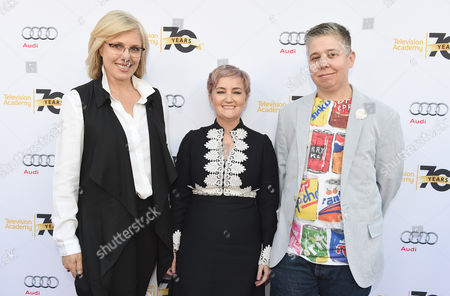 Sunny Hodge, from left, Cat Smith, and Ali Liebegott arrive at Transparent: Anatomy of an Episode at Ace Hotel, in Los Angeles