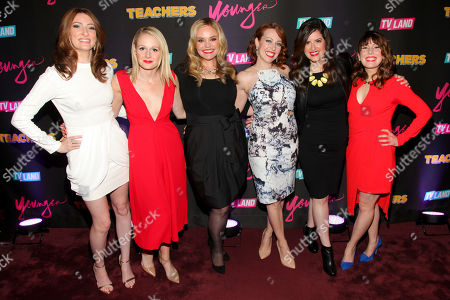 "Katy Colloton, from left, Katie O'Brien, Kate Lambert, Kathryn Renee Thomas, Cate Freedman and Caitlin Barlow attend the TV Land launch party for season two of ""Younger"" and the premiere of ""Teachers"" at The NoMad Hotel, in New York"