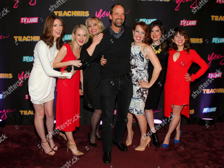 "Katy Colloton, from left, Katie O'Brien, Kate Lambert, Jay Martel, Kathryn Renee Thomas, Cate Freedman and Caitlin Barlow attend the TV Land launch party for season two of ""Younger"" and the premiere of ""Teachers"" at The NoMad Hotel, in New York"