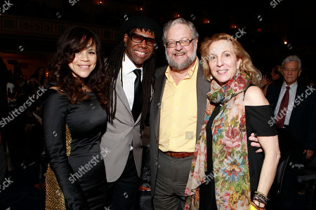 Rosie Perez, Nile Rodgers, David Rockefeller, Jr. and Susan Rockefeller attend the We Are Family Honors Sting & Trudie Styler concert at the Manhattan Center Grand Ballroom on in New York