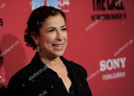 """Roma Maffia, a cast member in """"The Call,"""" poses at the premiere of the film at the Arclight Hollywood on in Los Angeles"""