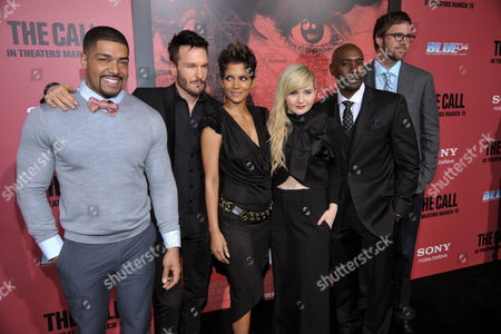 """Brad Anderson, far right, director of """"The Call,"""" poses with cast members, from left, David Otunga, Michael Eklund, Halle Berry, Abigail Breslin and Morris Chestnutat the premiere of the film at the Arclight Hollywood on in Los Angeles"""