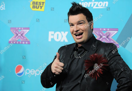 """Jason Brock, 35, of San Francisco, arrives at the """"X-Factor"""" Finalists Party, in Los Angeles"""