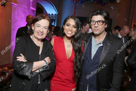 Judy McGrath, Founder and President of Astronauts Wanted, Lilly Singh and Nick Shore, Chief Creative Strategist of Astronauts Wanted, seen at YouTube star Lilly Singh debuts the World Premiere of 'A Trip to Unicorn Island' after party at TCL Chinese Theatre, in Hollywood, CA