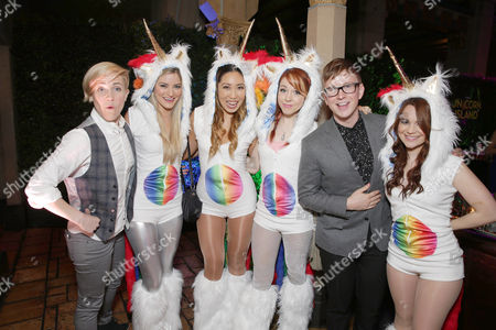 Hannah Hart, Justine Ezarik, Cassey Ho, Lindsey Stirling, Tyler Oakley and Rosanna Pansino seen at YouTube star Lilly Singh debuts the World Premiere of 'A Trip to Unicorn Island' after party at TCL Chinese Theatre, in Hollywood, CA