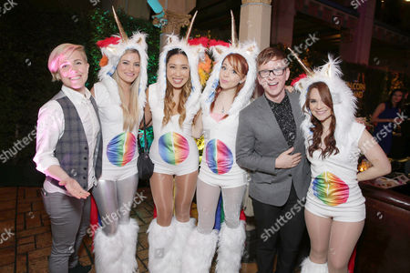 Stock Photo of Hannah Hart, Justine Ezarik, Cassey Ho, Lindsey Stirling, Tyler Oakley and Rosanna Pansino seen at YouTube star Lilly Singh debuts the World Premiere of 'A Trip to Unicorn Island' after party at TCL Chinese Theatre, in Hollywood, CA