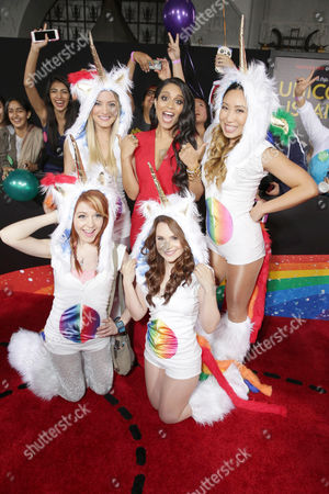 Lindsey Stirling, Justine Ezarik, Lilly Singh, Rosanna Pansino and Cassey Ho seen at YouTube star Lilly Singh debuts the World Premiere of 'A Trip to Unicorn Island' at TCL Chinese Theatre, in Hollywood, CA
