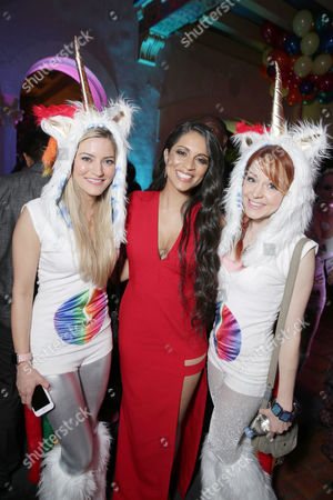 Justine Ezarik, Lilly Singh and Lindsey Stirling seen at YouTube star Lilly Singh debuts the World Premiere of 'A Trip to Unicorn Island' after party at TCL Chinese Theatre, in Hollywood, CA