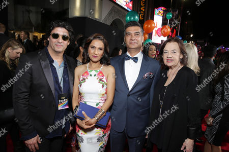 Nick Shore, Chief Creative Strategist of Astronauts Wanted, Mrs. Singh, Mr. Singh and Judy McGrath, Founder and President of Astronauts Wanted, seen at YouTube star Lilly Singh debuts the World Premiere of 'A Trip to Unicorn Island' at TCL Chinese Theatre, in Hollywood, CA