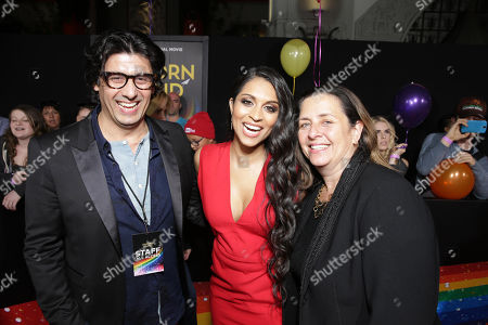 Nick Shore, Chief Creative Strategist of Astronauts Wanted, Lilly Singh and Susanne Daniels, YouTube Red Global Head of Original Content, seen at YouTube star Lilly Singh debuts the World Premiere of 'A Trip to Unicorn Island' at TCL Chinese Theatre, in Hollywood, CA