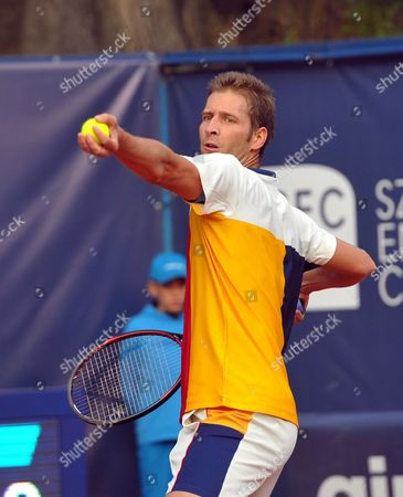 Stock Image of Florian Mayer of Germany returns the ball to Jerzy Janowicz of Poland during quarterfinal match at the Challenger ATP Pekao Open tennis tournament in Szczecin, Poland, 15 September 2017.