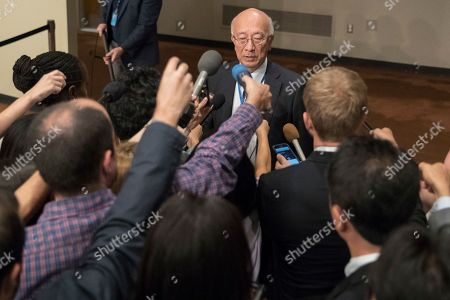 Japanese Ambassador Ambassador to the United Nations Koro Bessho speaks to reporters before Security Council consultations on the situation in North Korea, at United Nations headquarters