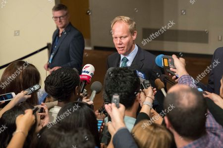 British Ambassador to the United Nations Matthew Rycroft speaks to reporters before Security Council consultations on the situation in North Korea, at United Nations headquarters