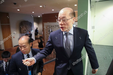 Stock Picture of Chinese Ambassador to the United Nations Liu Jieyi speaks to reporters as he leaves a Security Council consultations on the situation in North Korea, at United Nations headquarters