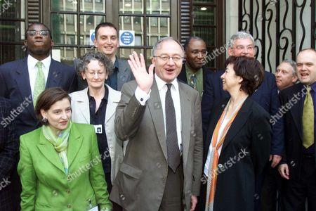 Mayor Ken Livingstone with his team: (back row) David Lammy (Lab) Darren Johnson (Green) Trevor Phillips (Lab) Richard Barnes (Conservative); (front row) Samantha Heath (Lab) Jenny Jones (Green) and Nicky Gavron (Lab)