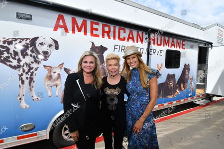 Stock Picture of Robin Ganzert, Lois Pope, Beth Stern. American Humane's CEO Robin Ganzert, left, philanthropist Lois Pope and Beth Stern are seen at the unveiling of a new 50-foot American Humane Rescue Vehicle at The Beverly Hilton Hotel on in Beverly Hills, Calif. The truck will provide mobile assistance in animal rescues in California during natural disasters