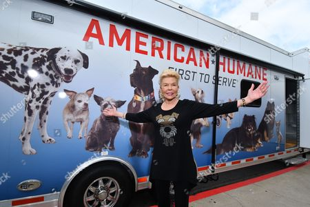 Philanthropist Lois Pope is seen at the unveiling of a new 50-foot American Humane Rescue Vehicle she donated to the organization at The Beverly Hilton Hotel on in Beverly Hills, Calif. The truck will provide mobile assistance in animal rescues in California during natural disasters