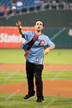 Actor Troy Gentile, who plays Barry Goldberg in ''The Goldbergs'', throws out the first pitch during the MLB game between the Oakland Athletics and Philadelphia Phillies at Citizens Bank Park in Philadelphia, Pennsylvania