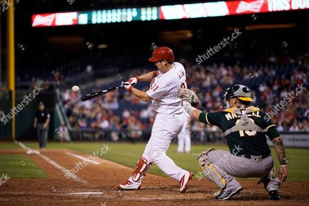 Philadelphia Phillies' Hyun Soo Kim in action during a baseball game against the Oakland Athletics, in Philadelphia