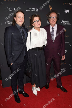 James Rush, Jane Menelaus, Geoffrey Rush. James Rush, from left, Jane Menelaus, and Geoffrey Rush arrive at the 2017 Performers Nominee Reception Presented by the Television Academy at the Wallis Annenberg Center for the Performing Arts, in Beverly Hills, Calif