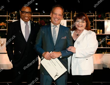 Hayma Washington, Dee Bradley Baker, Patrika Darbo. Emmy nominee Dee Bradley Baker, center, poses with Hayma Washington, Chairman and CEO of the Television Academy, left, and Patrika Darbo at the 2017 Performers Nominee Reception Presented by the Television Academy at the Wallis Annenberg Center for the Performing Arts, in Beverly Hills, Calif