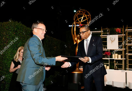 Dee Bradley Baker, Hayma Washington. Emmy nominee Dee Bradley Baker, left, and Hayma Washington, Chairman and CEO of the Television Academy, are seen at the 2017 Performers Nominee Reception Presented by the Television Academy at the Wallis Annenberg Center for the Performing Arts, in Beverly Hills, Calif