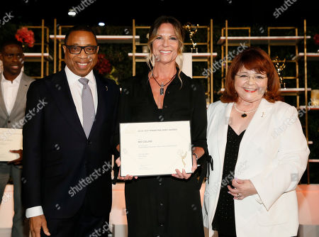 Hayma Washington, Mo Collins, Patrika Darbo. Emmy nominee Mo Collins, center, poses with Hayma Washington, Chairman and CEO of the Television Academy, left, and Patrika Darbo at the 2017 Performers Nominee Reception Presented by the Television Academy at the Wallis Annenberg Center for the Performing Arts, in Beverly Hills, Calif