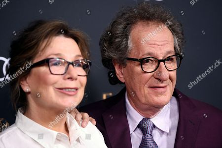 Geoffrey Rush, Jane Menelaus. Actor Geoffrey Rush, right, poses with his wife, actress Jane Menelaus, at the 69th Primetime Emmy Awards Performers Nominee Reception at the Wallis Annenberg Center for the Performing Arts, in Beverly Hills, Calif
