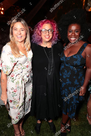 Guest, Jenji Kohan and Uzo Aduba seen at Netflix annual Emmy Nominee toast at the home of Ted Sarandos and Nicole Avant in Los Angeles, CA on September 15, 2017