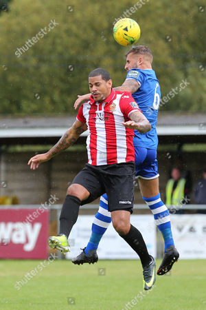Leon McKenzie of Hornchurch and Jason Beck of Hertford Town during Hertford Town vs AFC Hornchurch, Emirates FA Cup Football at Hertingfordbury Park on 16th September 2017