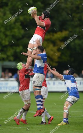 Ed Holmes of Plymouth Albion wins the ball at the line out during the National League Division One match between Bishop Stortford RFC and Plymouth Albion at Silver Leys, Bishop Stortford, Hertfordshire on September 16th 2017.