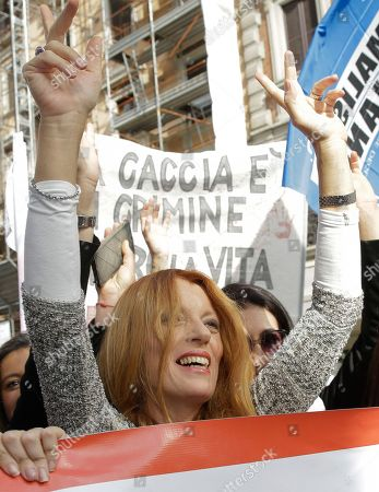 Stock Photo of President and founder of the 'Movimento Animalista' Michela Vittoria Brambilla attends a rally during the presentation of the 'Movimento Animalista' party, in Milan, Italy
