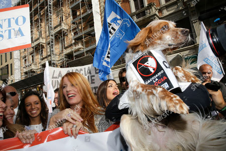 President and founder of the 'Movimento Animalista' Michela Vittoria Brambilla attends a rally during the presentation of the 'Movimento Animalista' party, in Milan, Italy