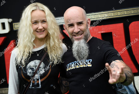 """Scott Ian, Pearl Aday. Scott Ian of Anthrax and his wife Pearl Aday pose together at the premiere of the film """"The LEGO Ninjago Movie"""" at the Regency Village Theatre Westwood, in Los Angeles"""