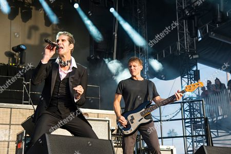 Stock Picture of Perry Farrell; Chris Chaney. Perry Farrell, left, and Chris Chaney of Jane's Addiction seen at KAABOO 2017 at the Del Mar Racetrack and Fairgrounds, in San Diego, Calif
