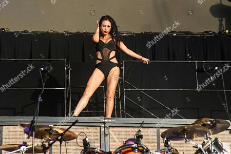 Etty Lau Farrell performs with Jane's Addiction seen at KAABOO 2017 at the Del Mar Racetrack and Fairgrounds, in San Diego, Calif