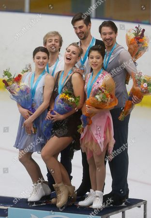 Madison Hubbell and Zachary Donohue, Kaitlin Hawayek and Jean-Luc Baker, Kana Muramoto and Chris Reed. Ice dance winners Madison Hubbell and Zachary Donohue center, of the United States, stand on the podium with second-place Kaitlin Hawayek and Jean-Luc Baker, left, of the United States, and third-place Kana Muramoto and Chris Reed, of Japan, at the U.S. International Figure Skating Classic in Salt Lake City